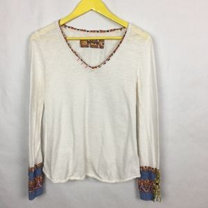 Anthro Little Yellow Button Colorful Cuff Top